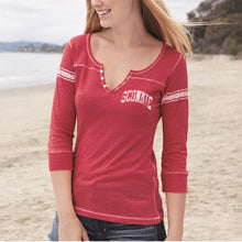 Load image into Gallery viewer, Sconnie Vintage Left Chest Hailey Henley - Red