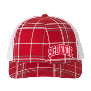 Sconnie Arch Plaid Print Hat - Red/Charcoal/White
