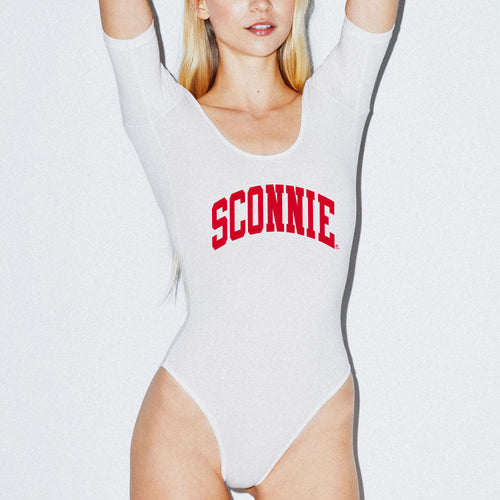 Sconnie Arch Am App Spandex Uneck Bodysuit - White