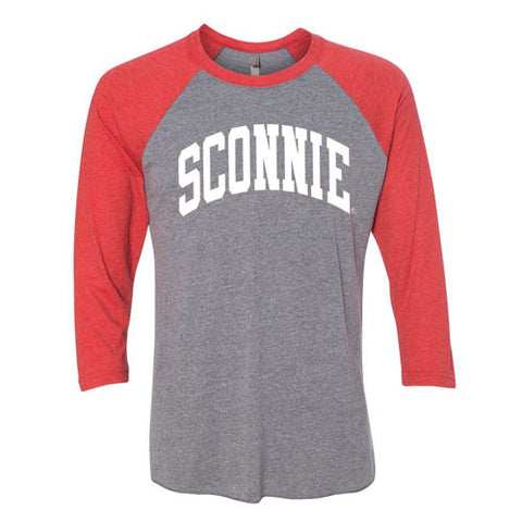 Sconnie 3/4 Sleeve Baseball Tee - Premium Heather/Vintage Red