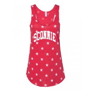 Sconnie Arch Meegs Printed Racerback Tank - True Red Stars