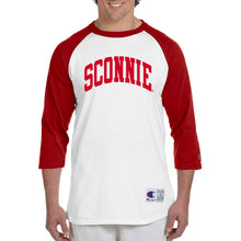 Load image into Gallery viewer, Sconnie 3/4 Sleeve Baseball Tee - White/Red