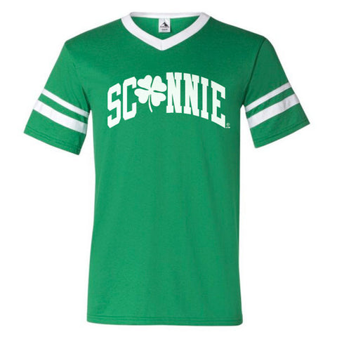 Sconnie Clover Striped Sleeve T-shirt - Kelly Green/White