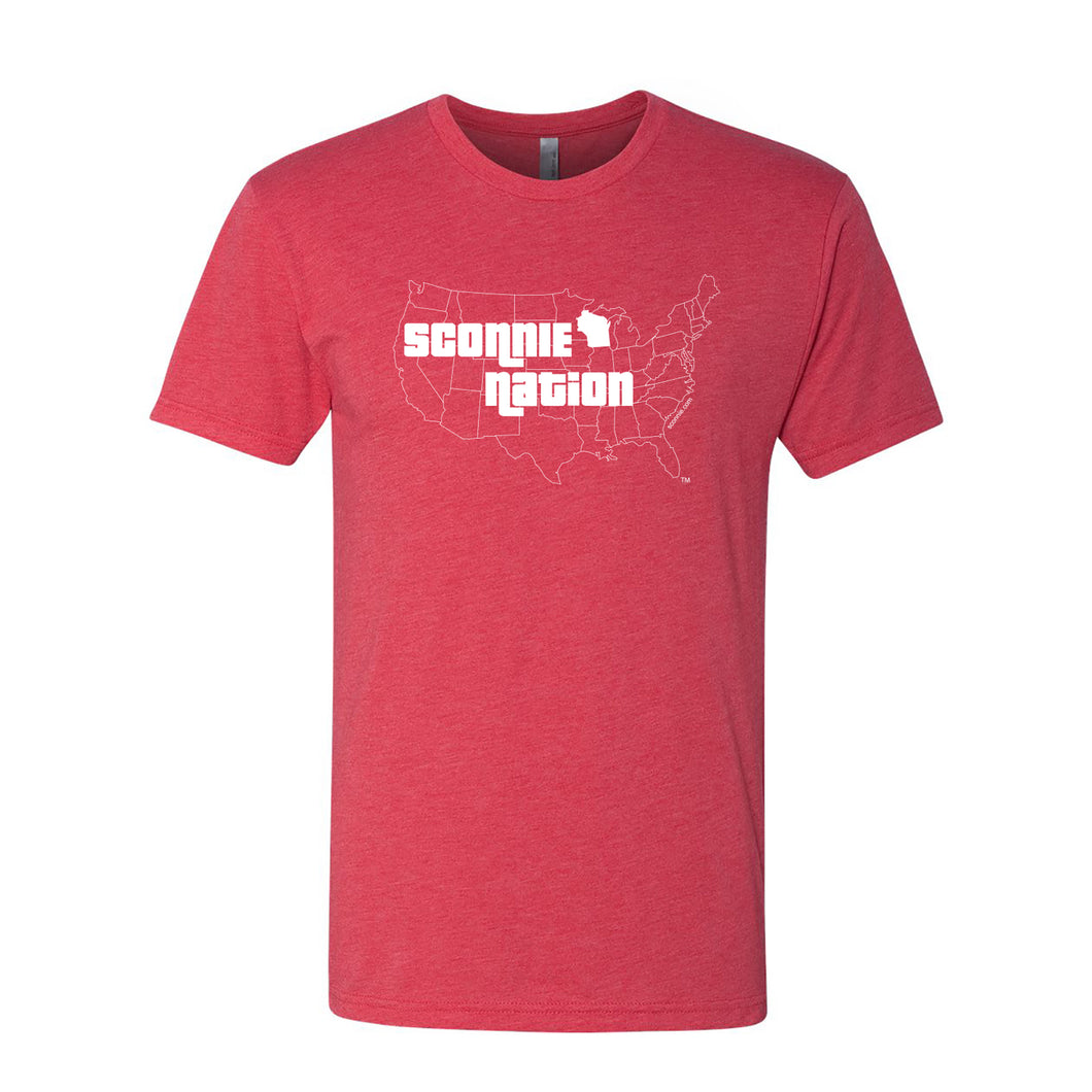 Sconnie Nation Tri-Blend T-shirt - Vintage Red