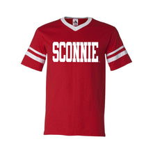 Load image into Gallery viewer, Sconnie Striped Sleeve T-shirt - Red