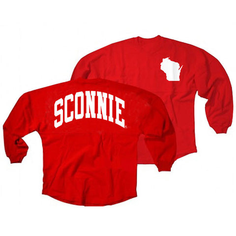 Sconnie Fashion Pom Jersey State Outline - Red/White