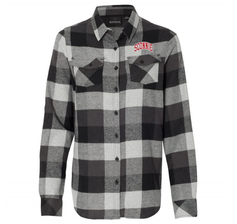 Sconnie Emb Flannel - Black Plaid