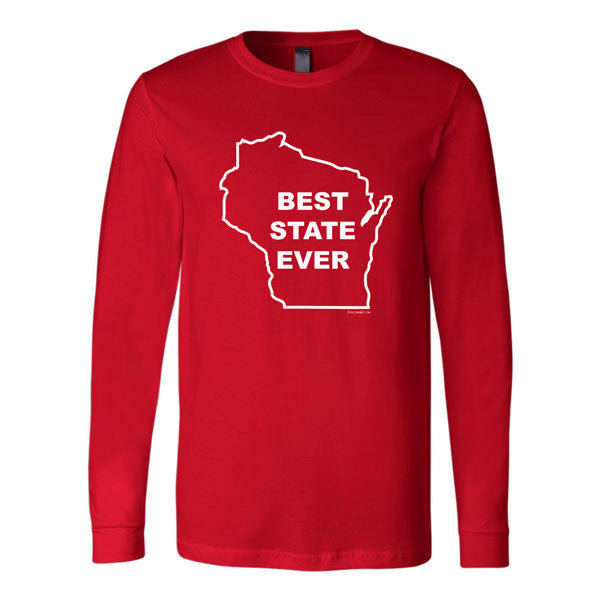 Wisconsin - Best State Ever Canvas Long Sleeve T-shirt - Red