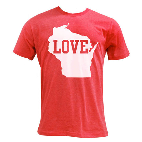 Wisconsin Love Poly-Cotton T-shirt - Heather Red