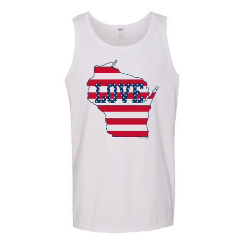 WI Love US Flag Tank Top - White