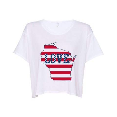 WI Love US Flag Boxy Tee - White