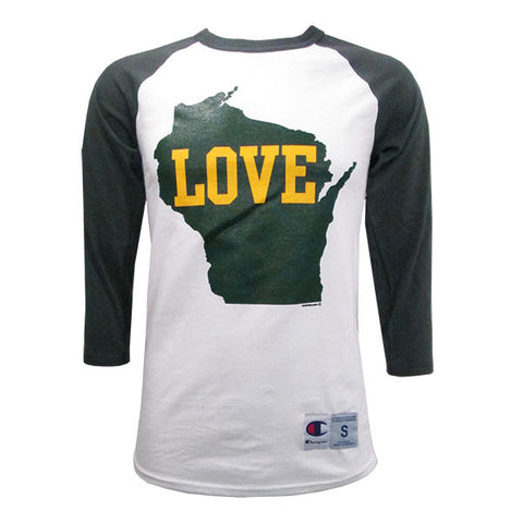 WI Love 3/4 Sleeve Baseball Tee - Forest