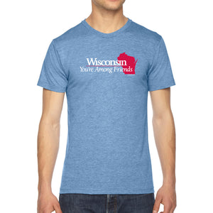 Wisconsin: You're Among Friends Tri-Blend T-shirt - Athletic Blue