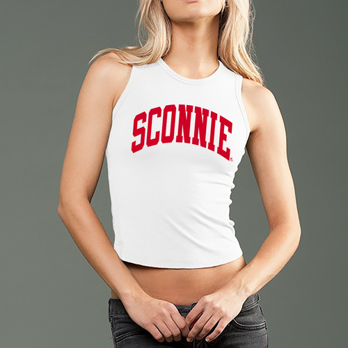 Sconnie Arch Spandex Fitted Crop Muscle Tank - White
