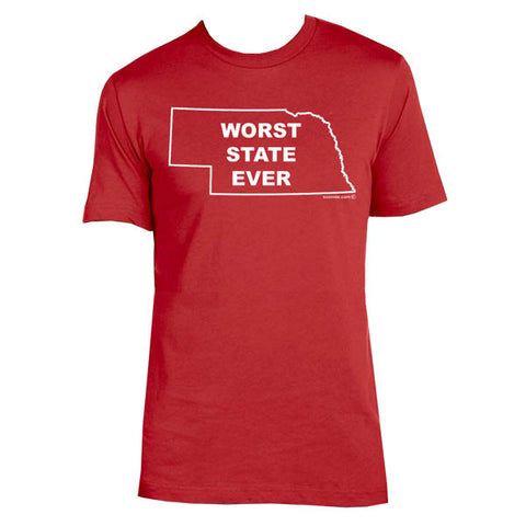 Nebraska: Worst State Ever T-shirt - Red