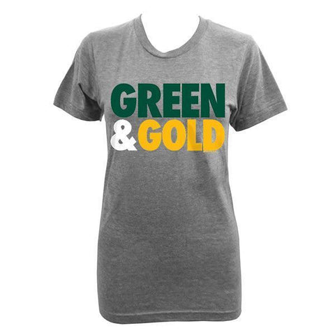 Women's Green & Gold Tri-Blend T-shirt - Athletic Grey