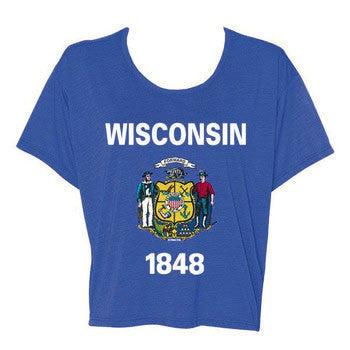 Wisconsin State Flag Flowy Boxy Tee - Royal