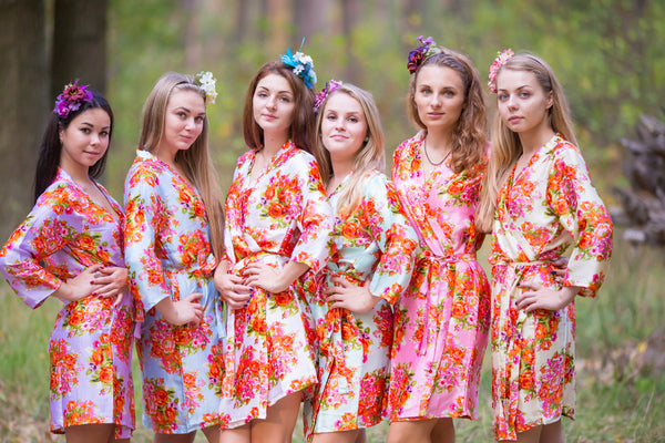 Mismatched Silk Floral Posy Patterned Bridesmaids Robes in Soft Tones|Mismatched Silk Floral Posy Patterned Bridesmaids Robes in Soft Tones|Mismatched Silk Floral Posy Patterned Bridesmaids Robes in Soft Tones|Silk floral posy pattern