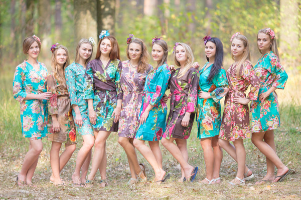 Teal and Brown Wedding Colors Bridesmaids Robes