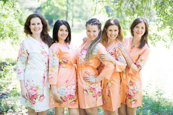 Peach Cabbage Roses Pattern Bridesmaids Robes|Peach Cabbage Roses Pattern Bridesmaids Robes|Cabbage Roses