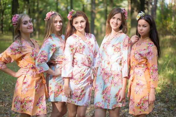 Peach & Sky Blue Wedding Colors Bridesmaids Robes, Kimono Robes