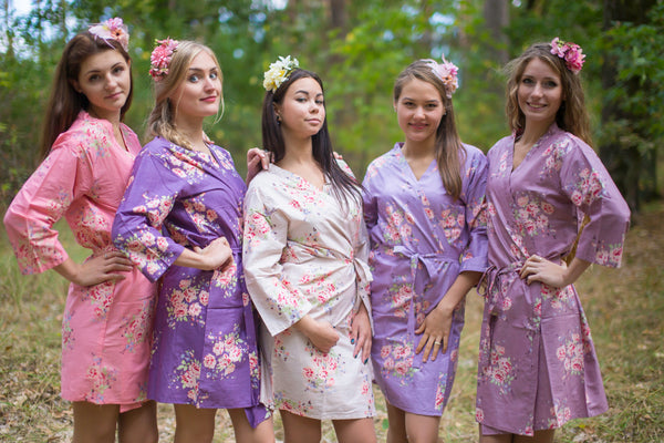 Shades of Purple and Coral Wedding Colors Bridesmaids Robes