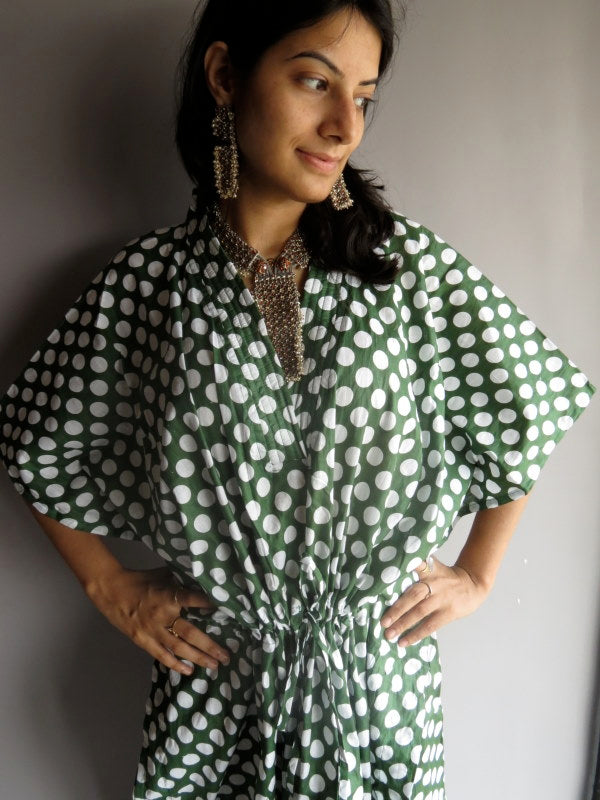 Dark Green Polka Dots V-Neck, Ankle Length, Cinched Waist Caftan-R6 fabric Code