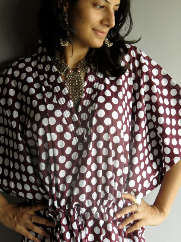 Plum Polka Dots V-Neck, Ankle Length, Cinched Waist Caftan-R1 fabric Code