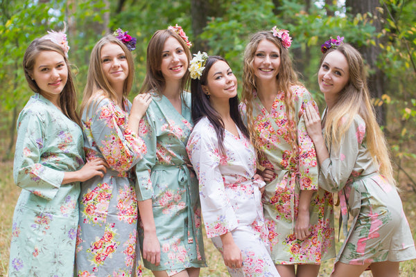 Grayed Jade and Shades of Green Wedding Colors Bridesmaids Robes