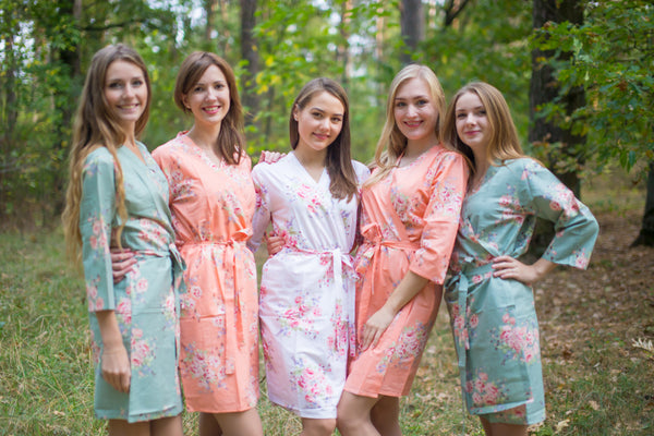 Grayed Jade & Peach Wedding Colors Bridesmaids Robes, Kimono Robes