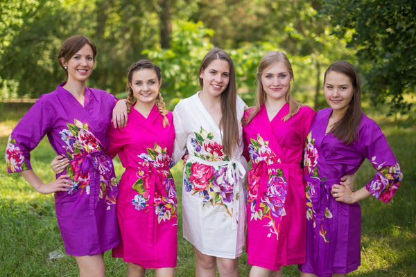 Purple and Fuchsia Wedding Colors Bridesmaids Robes