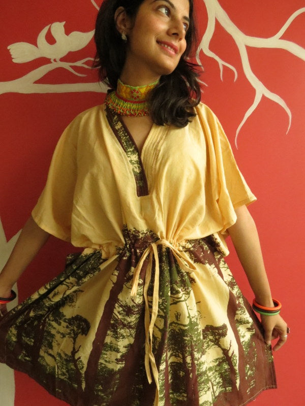 Yellow Tree of Life V-Neck, Knee Length, Cinched Waist Caftan