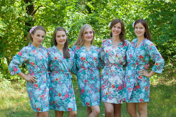 Light Blue Cute Bows Pattern Bridesmaids Robes