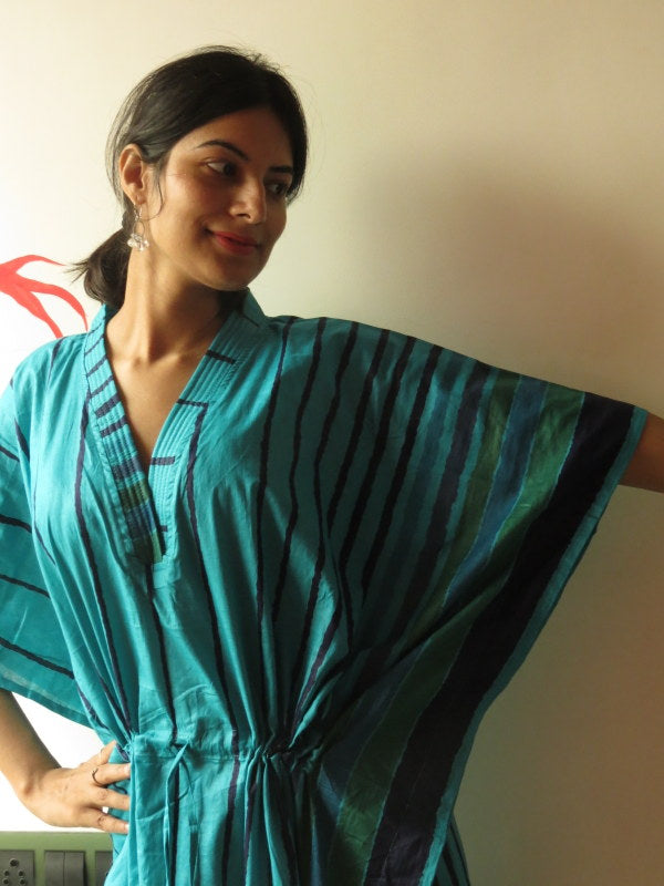Teal Striped V-Neck, Ankle Length, Cinched Waist Caftan