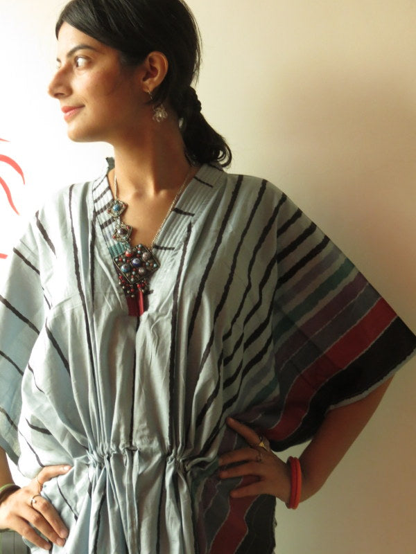 Gray Striped V-Neck, Ankle Length, Cinched Waist Caftan, Comfortable House Dress