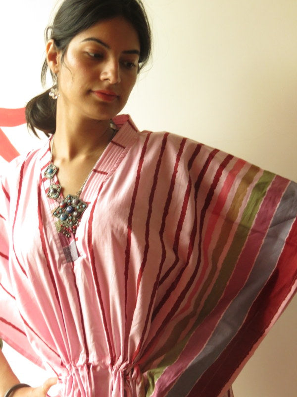 Pink Striped V-Neck, Ankle Length, Cinched Waist Caftan
