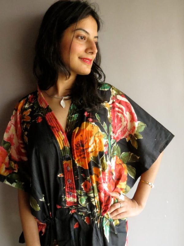 Black Multicolor Big Flower V-Neck Button Down to Waist, Ankle Length, Cinched Waist Caftan-D8 fabric Code
