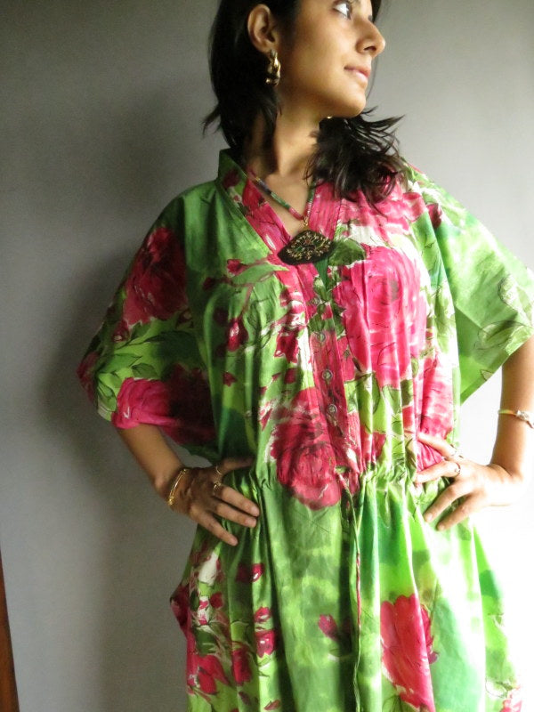 Green Fuchsia Flowers V-Neck Button Down to Waist, Ankle Length, Cinched Waist Caftan-E6 fabric Code