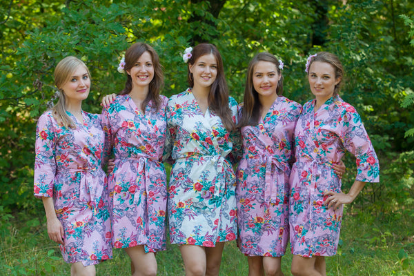 Cute Bows Pattern Bridesmaids Robes|Pink Cute Bows Pattern Bridesmaids Robes|Cute Bows