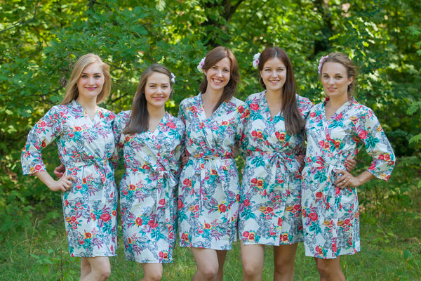 White Cute Bows Pattern Bridesmaids Robes
