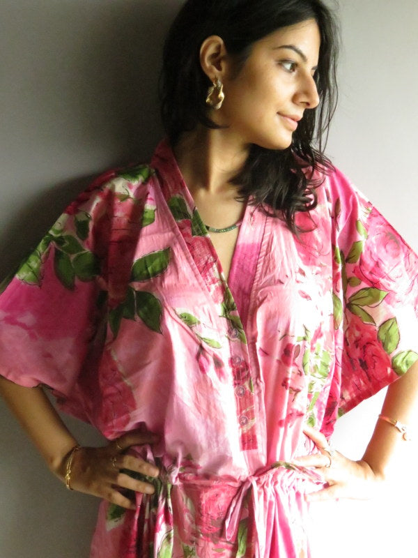 Pink Fuchsia Flowers V-Neck Button Down to Waist, Ankle Length, Cinched Waist Caftan-E13 fabric Code