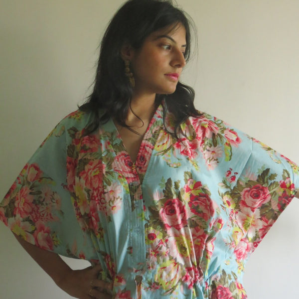 Light Blue Floral V-Neck Button Down to Waist, Ankle Length, Cinched Waist Caftan