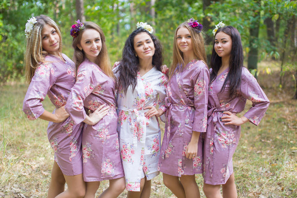 Amethyst Purple Faded Flowers Pattern Bridesmaids Robes