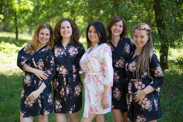 Faded Flowers Pattern Bridesmaids Robes|Black Faded Flowers Pattern Bridesmaids Robes|Faded Flowers