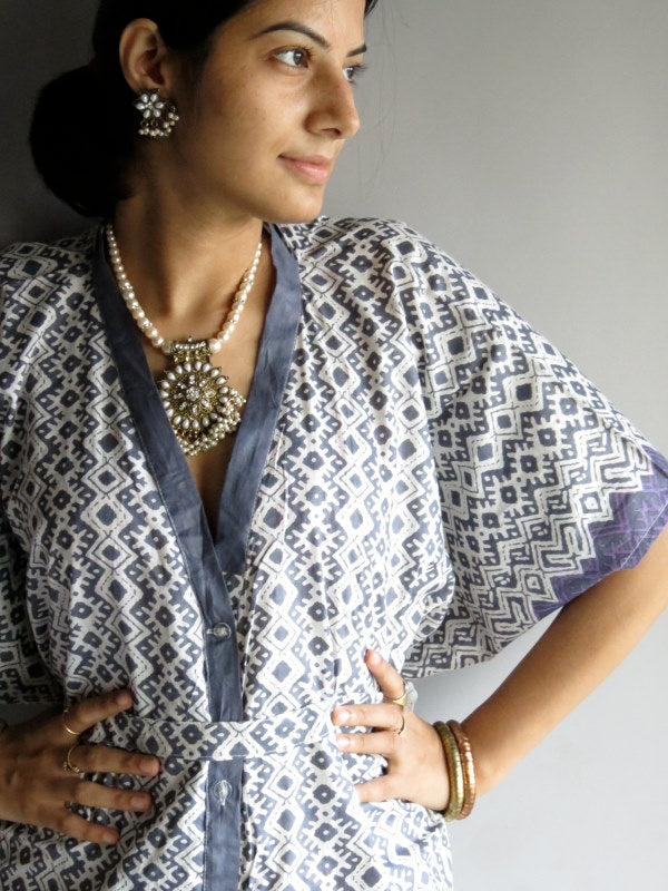 Gray Chevron Geometric V-Neck Full Button Down, Knee Length, Belted Caftan-H1 fabric Code