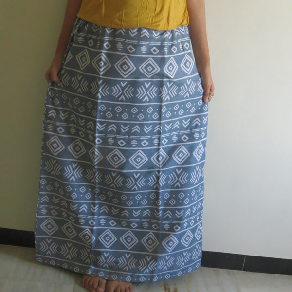 Gray Aztec Wrap Around Skirt