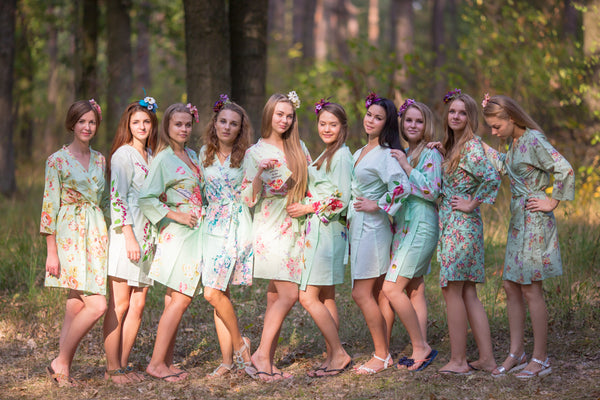 Mismatched Mints Bridesmaids Robes