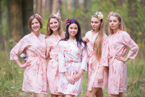 Faded Flowers Pattern Bridesmaids Robes|Blush Faded Flowers Pattern Bridesmaids Robes|Faded Flowers