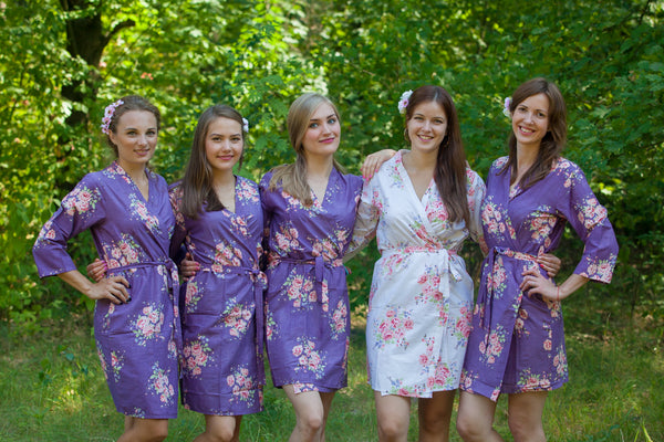 Deep Purple Faded Flowers Pattern Bridesmaids Robes