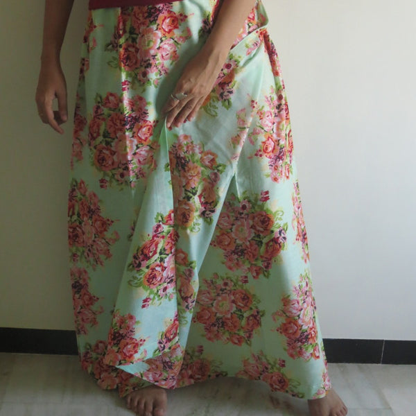 Mint Floral Wrap Around Skirt